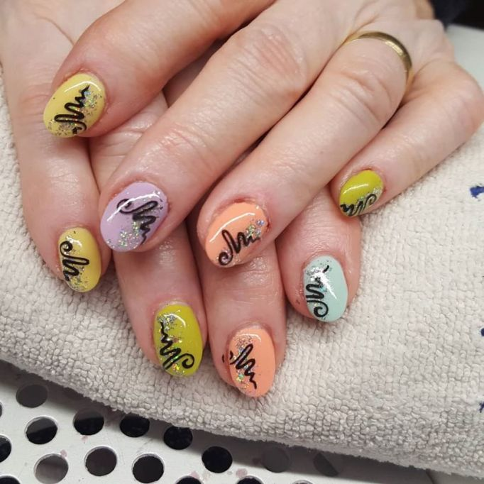 Colorful Squiggles Nail Art