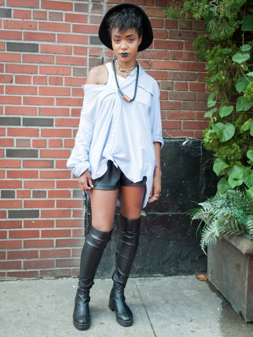 Fashion week street style high boots