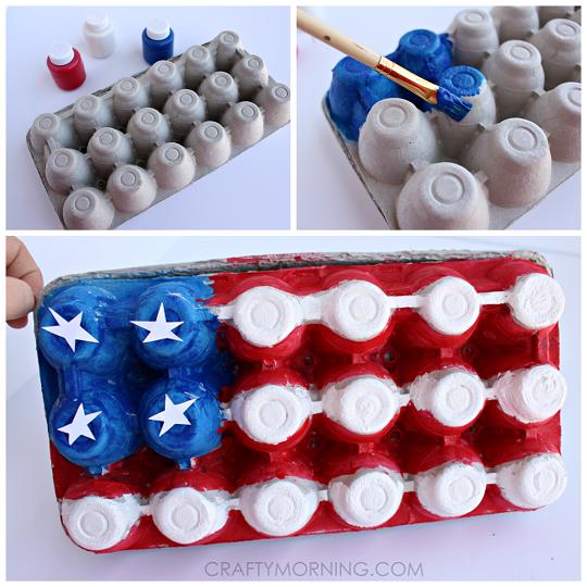 Egg Carton American Flag Craft