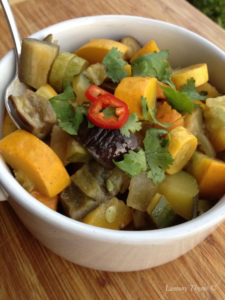 Eggplant, zucchini & squash curry
