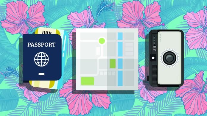 Passport, map and camera