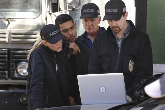 Mark Harmon, Wilmer Valderrama, Sean Murray and Emily Wickersham in 'NCIS'