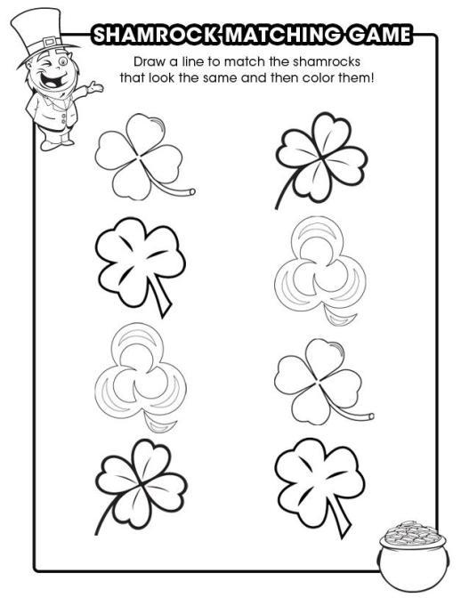 shamrock matching game coloring page