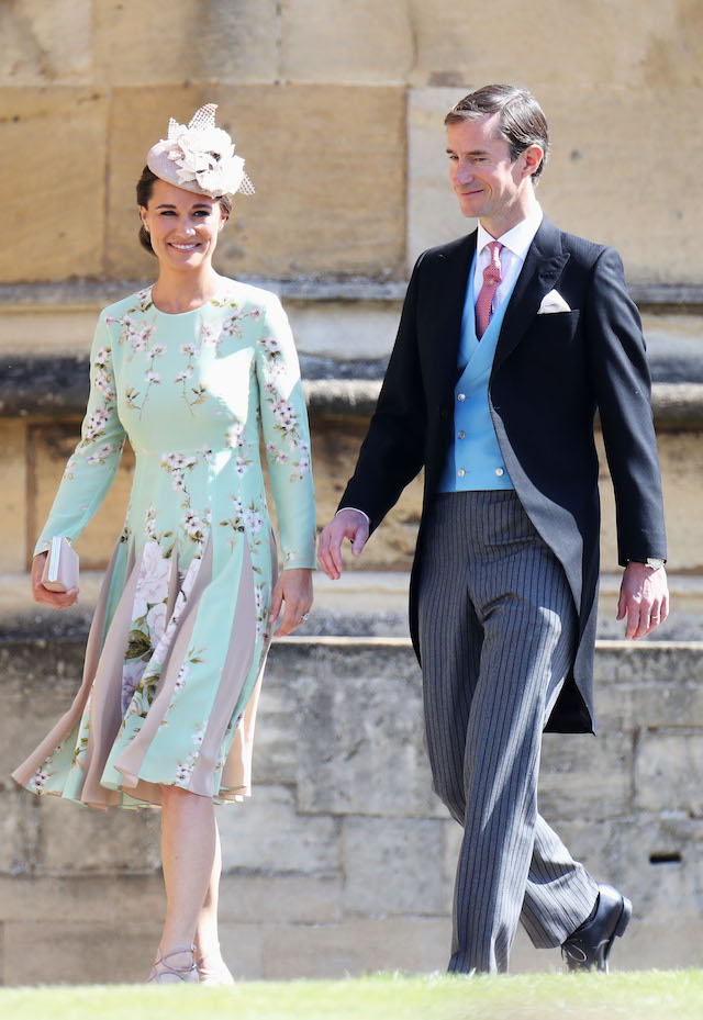 Pippa Middleton and James Matthews arrive at the wedding of Prince Harry to Ms Meghan Markle at St George's Chapel, Windsor Castle
