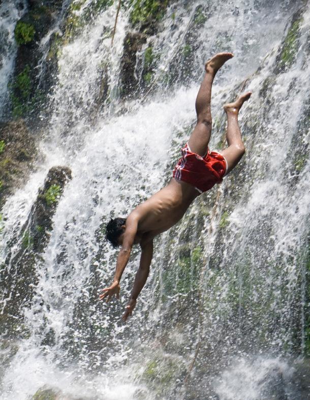 El Salvador -- waterfall jumping