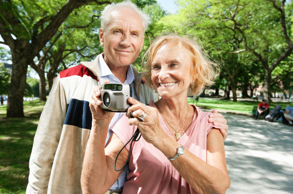 Elderly sightseeing group