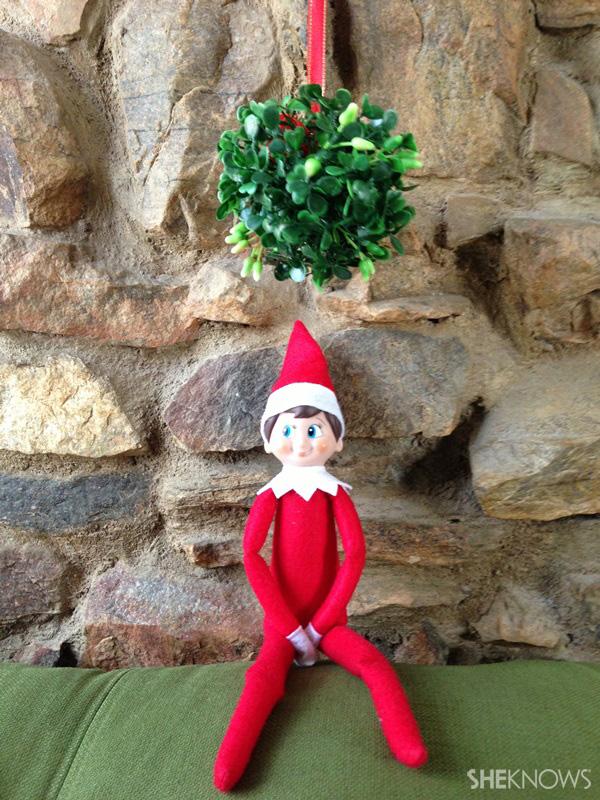 elf under mistletoe