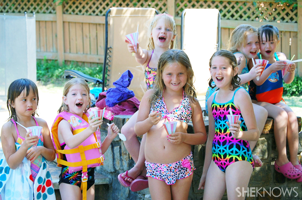 Ella at swim party