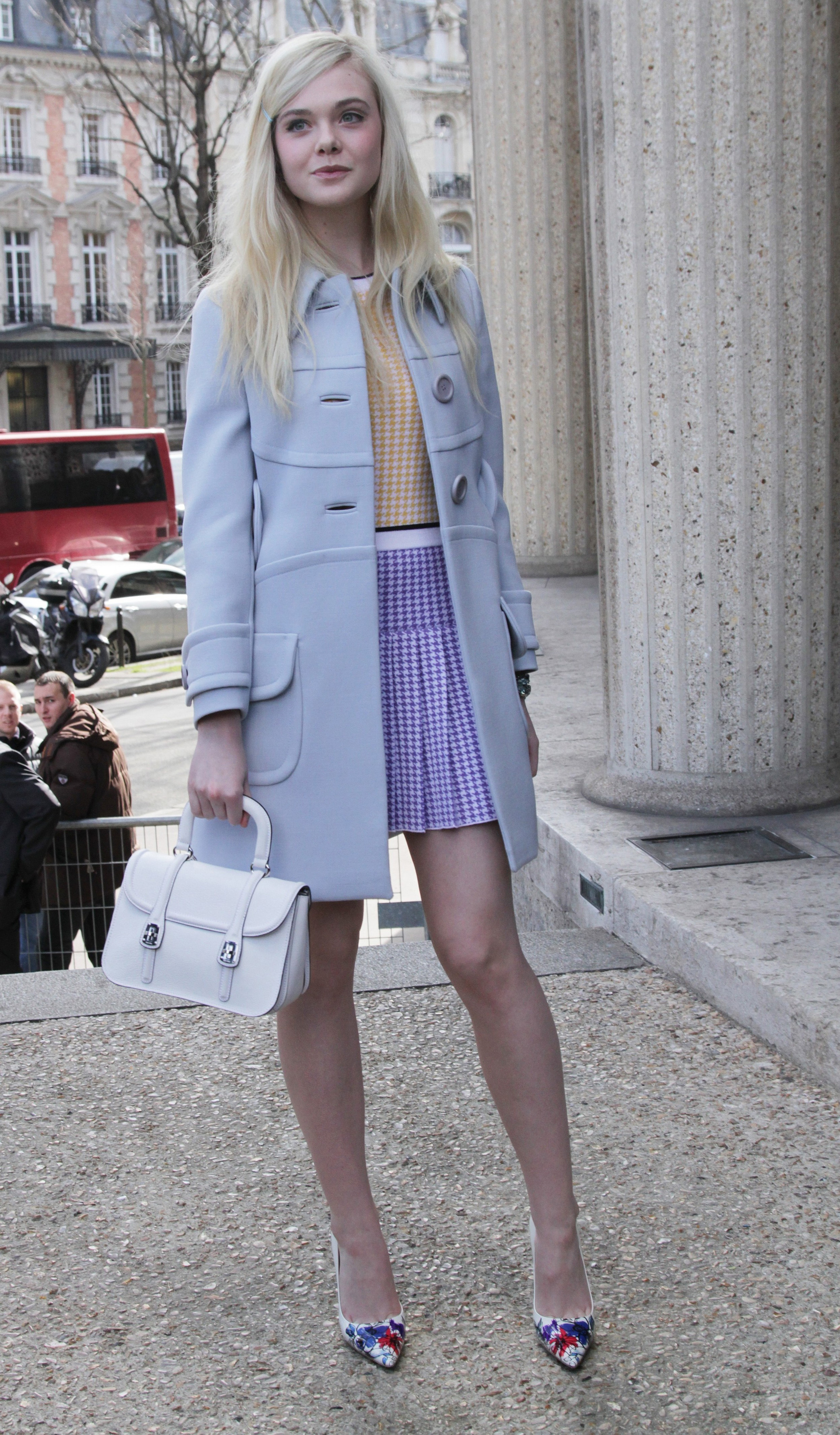 Elle Fanning wearing houndstooth dress
