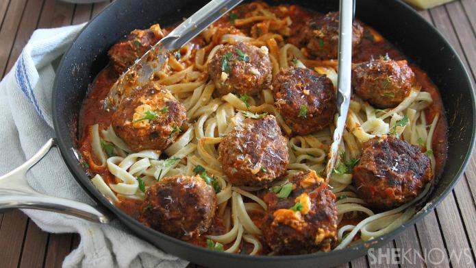 30-Minute cream cheese meatball fettuccine is