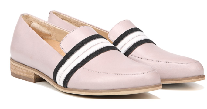 Light pink loafers with black and white stripe