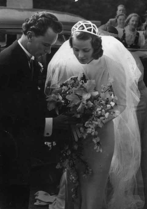 Ingrid Bergman with her first husband, dentist Dr. Petter Lindstrom, at their wedding