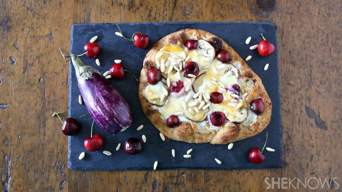 Eggplant, pine nut and cherry flatbread