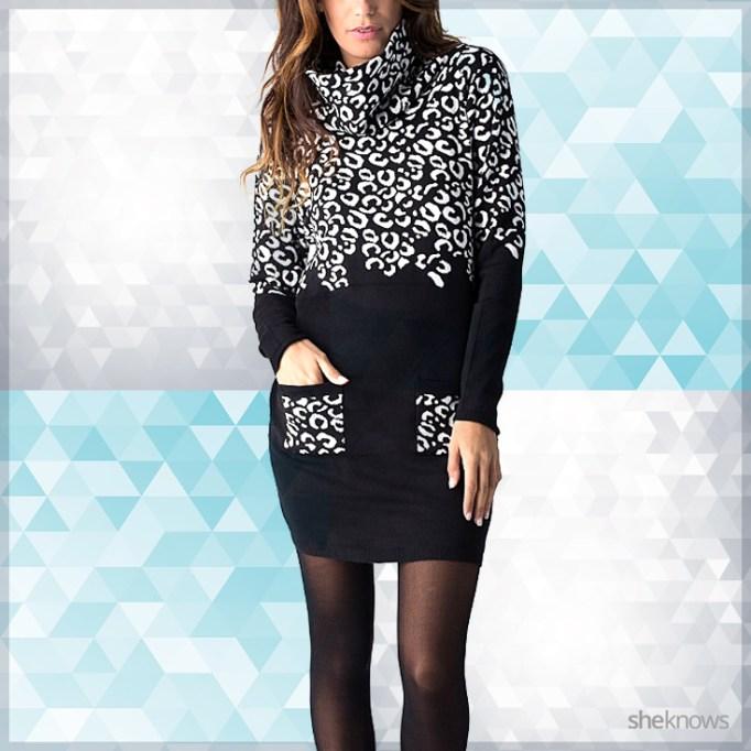 Black and white leopard print sweater dress