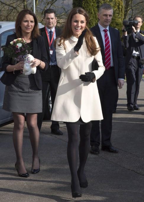 Kate Middleton white maternity coat
