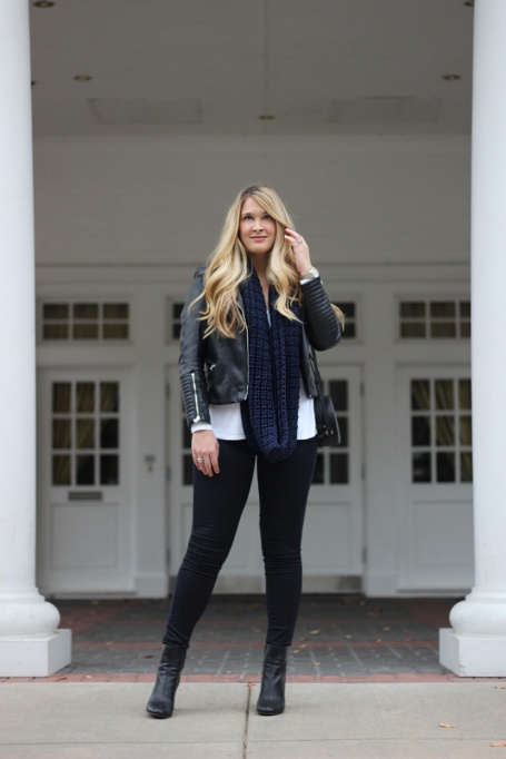 Ways to Wear an Infinity Scarf | Navy Blue Infinity Scarf with Black Faux Leather Jacket