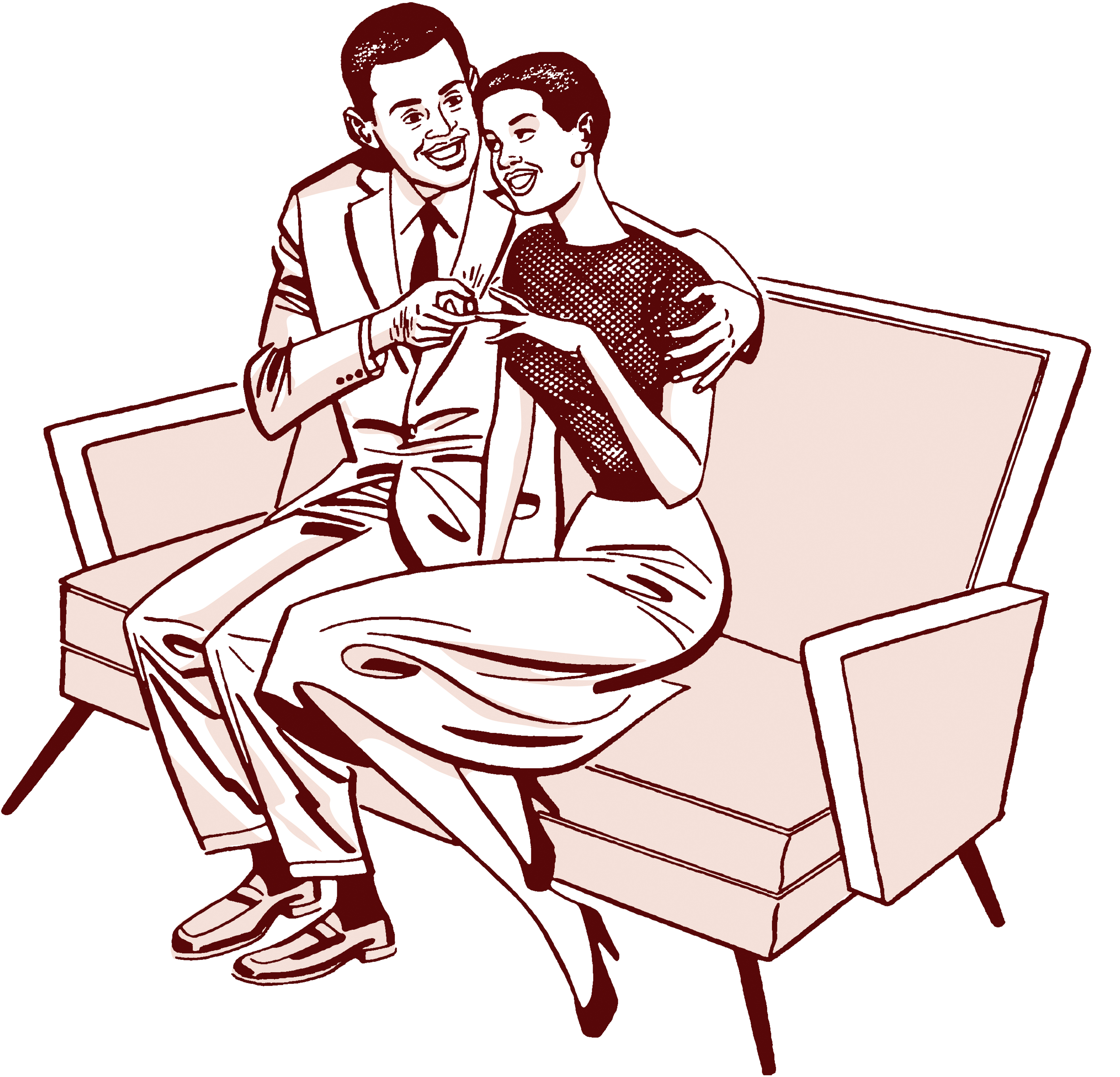 Black couple on couch getting engaged
