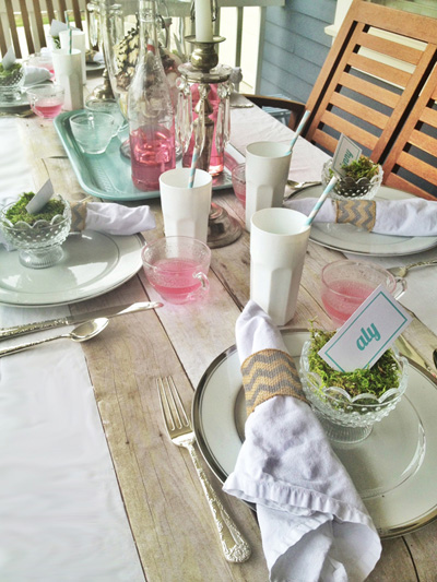 Simple and beautiful tablescape with pinks and greens