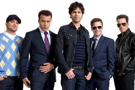 The Entourage posse, Kevin Connolly, Adrian Grenier, Kevin Dillon, Jerry Ferrara and Jeremy Piven, consider making a movie
