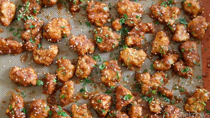 Sticky Asian chicken bites are as