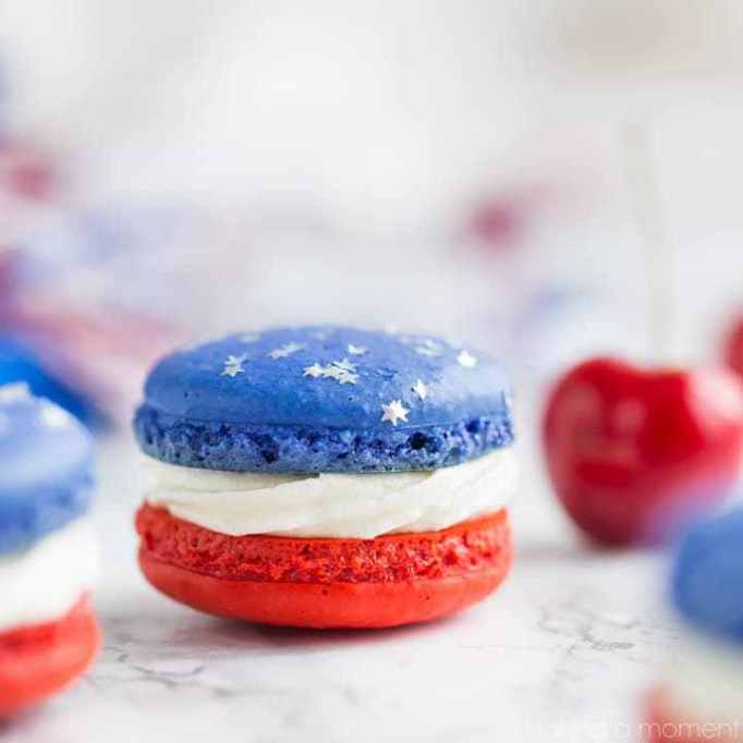 Red, white and blue macarons from Baking a Moment