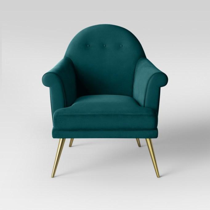 Target Myna tufted velvet arm chair with brass legs