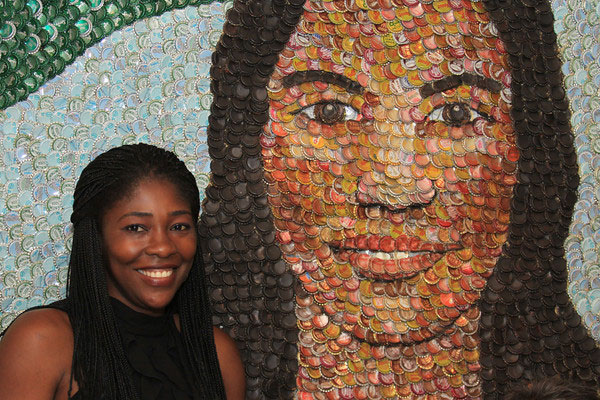 Bottle cap art mural