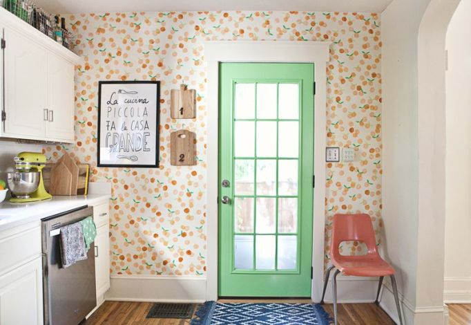 green door in kitchen