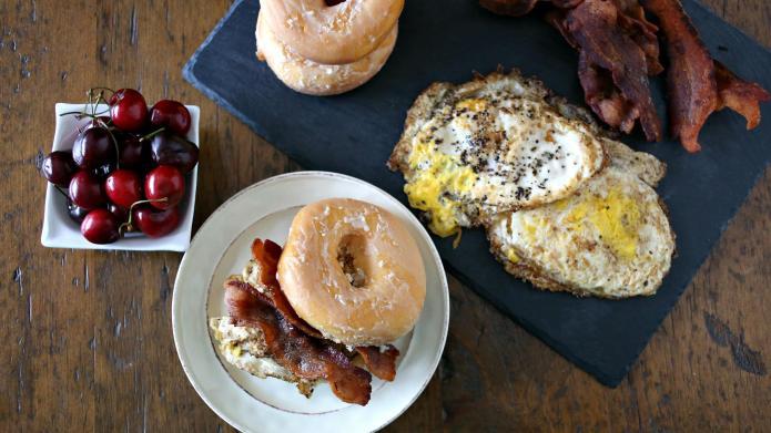 Loaded glazed doughnut breakfast sandwich