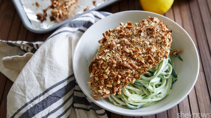 Pretzel-crusted chicken with creamy lemon zoodles