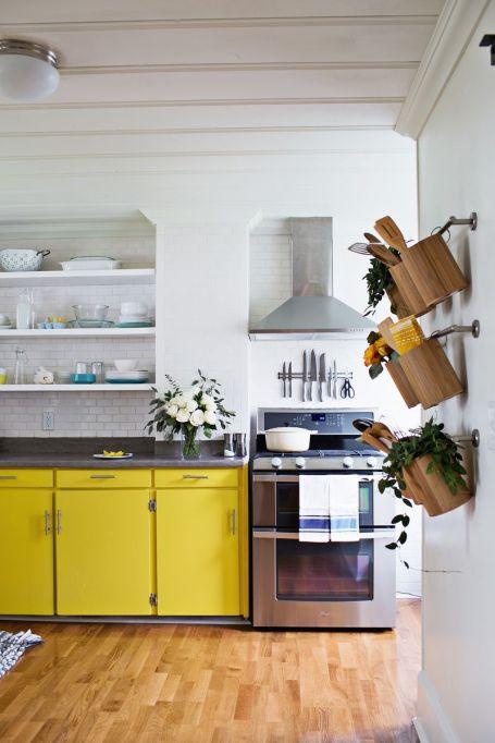 yellow cabinets kitchen