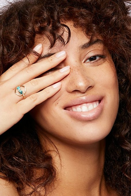 Gorgeous Jewelry Finds That Look Expensive: Turquoise Hex Ring | Inexpensive Jewelry Trends
