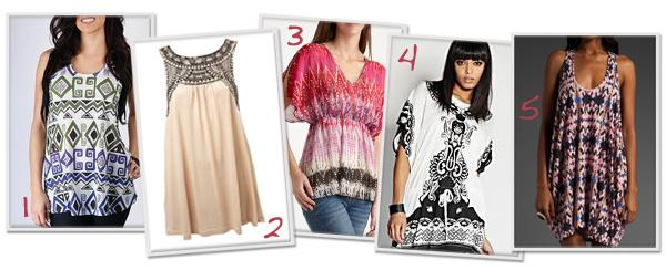 Tribal-inspired tunics for less