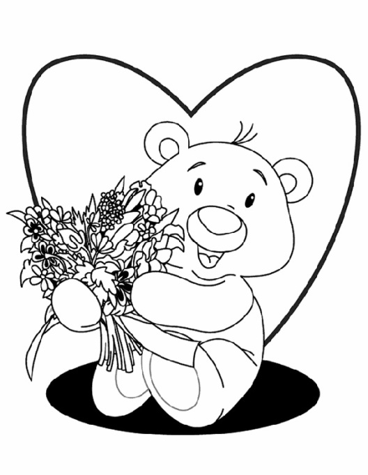 Valentine's Day Coloring Pages: Bear with flowers