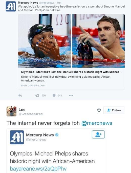 Mercury News Simone Manuel tweet