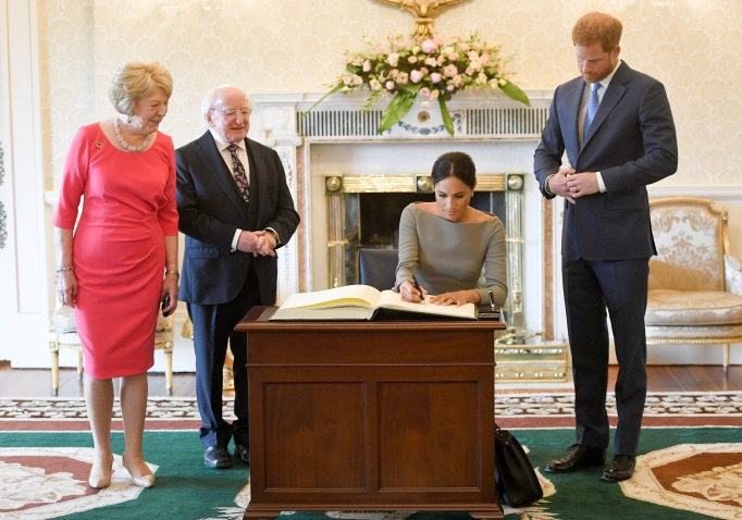 Meghan Markle and Prince Harry meet with the Irish president and his wife on their first overseas visit