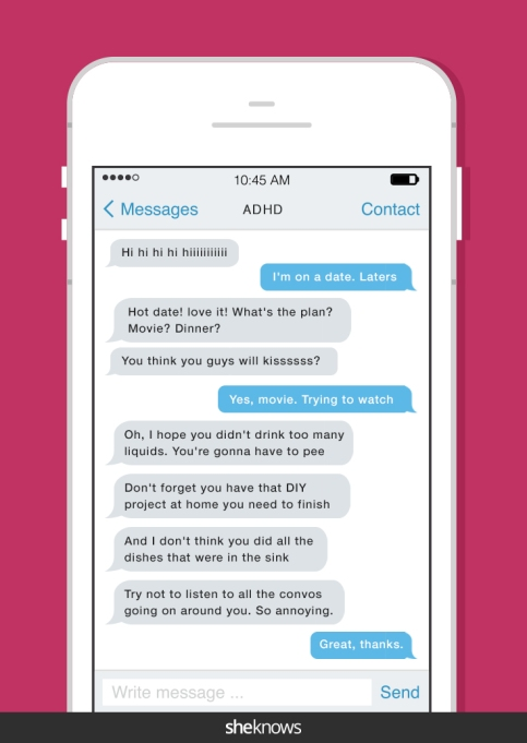 ADHD text message on a date