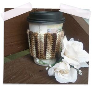 Crocheted mocha latte coffee cozy