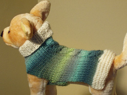 Green ombre cashmere knit dog sweater