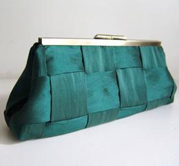 Emerald green handmade clutch