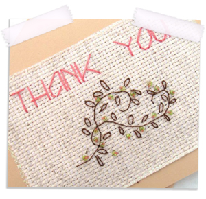 Bead embellished embroidery thank you card