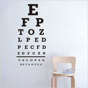 Eye chart wall decal