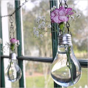 Recycled lightbulb vases