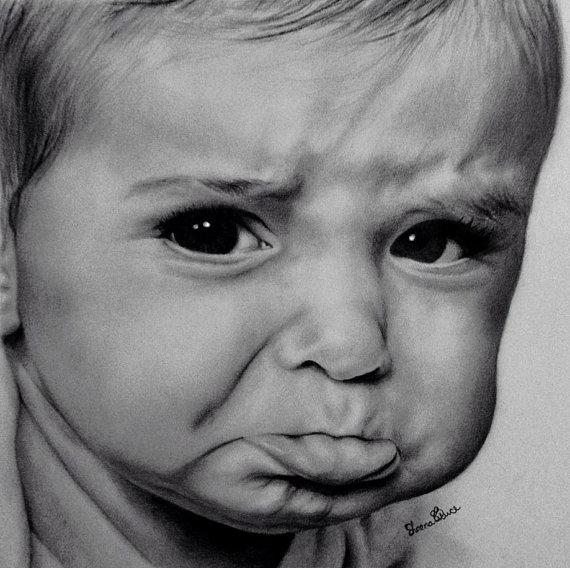 art print of sad baby