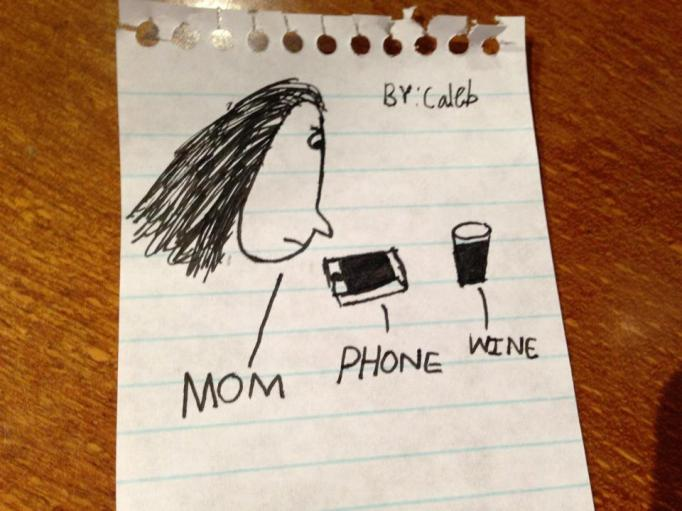 Mom, phone and wine