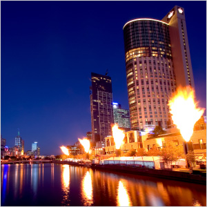 Evening fire show in Melbourne