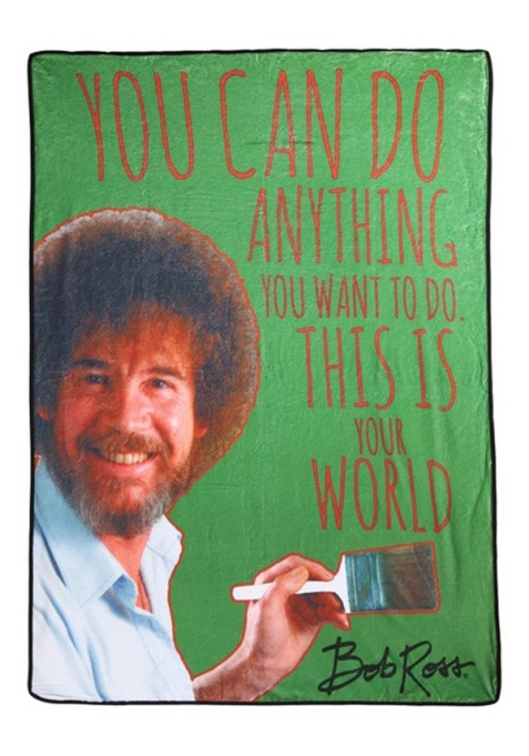 Quirkiest Gifts from Your Favorite Pop Culture Shows: Bob Ross fleece blanket