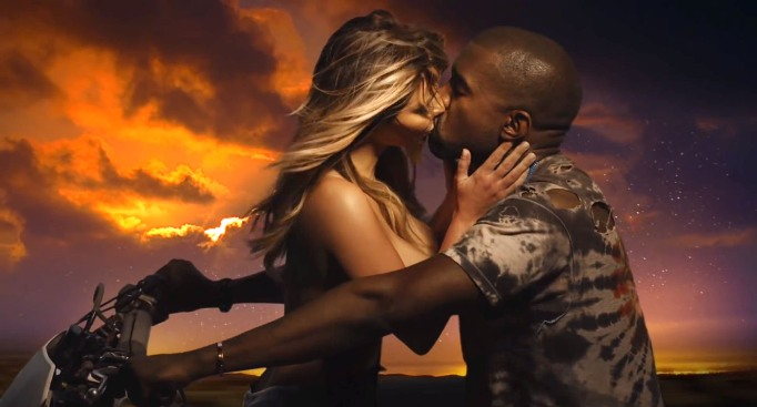 "Kim Kardashian and Kanye West in the music video for ""Bound 2"""