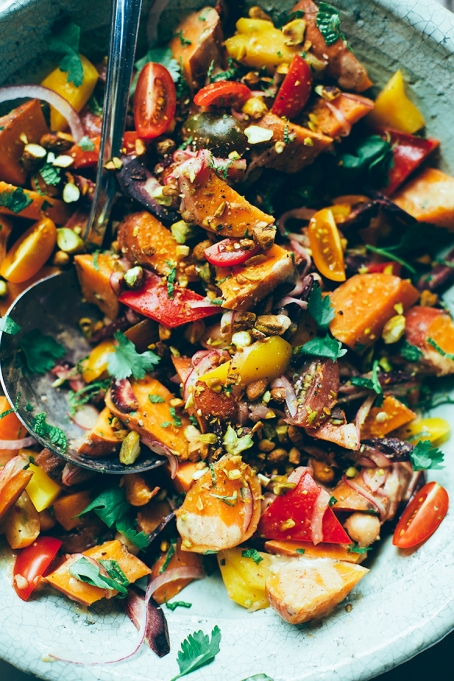 Moroccan-ish sweet potato sunshine salad from The First Mess