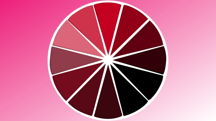 Red and pink color wheel on